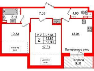 Квартира в ЖК Зеленый квартал на Пулковских высотах, 2 комнатная, 52.83 м², 5 этаж
