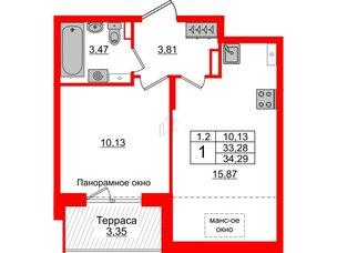 Квартира в ЖК Зеленый квартал на Пулковских высотах, 1 комнатная, 33.28 м², 5 этаж