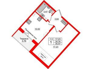 Квартира в ЖК Зеленый квартал на Пулковских высотах, 1 комнатная, 34.34 м², 5 этаж