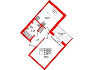 Квартира в ЖК Зеленый квартал на Пулковских высотах, 1 комнатная, 31.93 м², 5 этаж