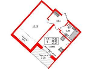 Квартира в ЖК Зеленый квартал на Пулковских высотах, 1 комнатная, 34.33 м², 5 этаж