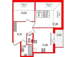 Квартира в ЖК Зеленый квартал на Пулковских высотах, 2 комнатная, 52.21 м², 5 этаж