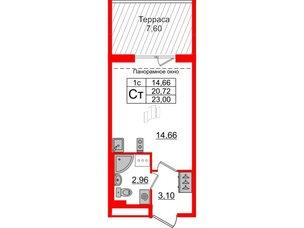 Квартира в ЖК Зеленый квартал на Пулковских высотах, студия, 20.72 м², 5 этаж