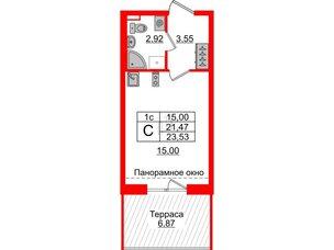 Квартира в ЖК Зеленый квартал на Пулковских высотах, студия, 21.47 м², 5 этаж