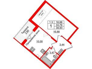 Квартира в ЖК Зеленый квартал на Пулковских высотах, 1 комнатная, 33.79 м², 5 этаж