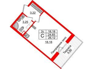 Квартира в ЖК Зеленый квартал на Пулковских высотах, студия, 24.65 м², 5 этаж