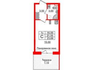 Квартира в ЖК Зеленый квартал на Пулковских высотах, студия, 21.55 м², 5 этаж