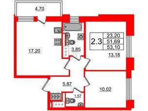 Квартира в ЖК Стрижи в Невском 2, 2 комнатная, 51.69 м², 3 этаж