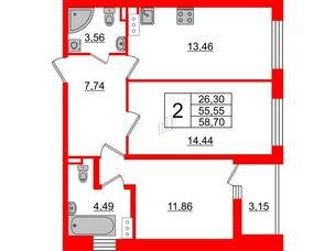 Квартира в ЖК «Черная Речка», 2 комнатная, 55.55 м², 7 этаж