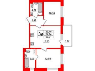 Квартира в ЖК «Черная Речка», 2 комнатная, 54.14 м², 11 этаж