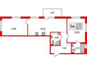 Квартира в ЖК «Черная Речка», 2 комнатная, 62.29 м², 3 этаж