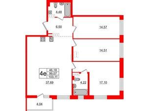 Квартира в ЖК «Черная Речка», 3 комнатная, 99.07 м², 2 этаж