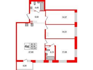 Квартира в ЖК «Черная Речка», 3 комнатная, 98.96 м², 4 этаж