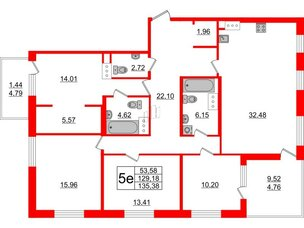 Квартира в ЖК Жемчужная гавань, 4 комнатная, 135.38 м², 10 этаж