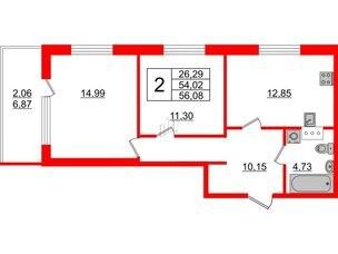 Квартира в ЖК Жемчужная гавань, 2 комнатная, 56.08 м², 5 этаж