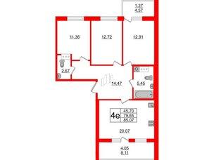 Квартира в ЖК Жемчужная гавань, 3 комнатная, 85.07 м², 4 этаж