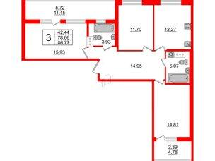 Квартира в ЖК Жемчужная гавань, 3 комнатная, 86.77 м², 4 этаж
