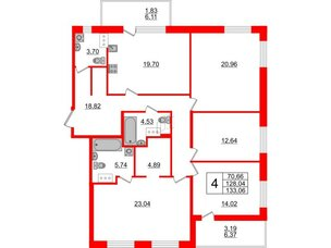 Квартира в ЖК Жемчужная гавань, 4 комнатная, 133.06 м², 9 этаж