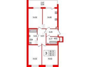 Квартира в ЖК Жемчужная гавань, 3 комнатная, 85.1 м², 5 этаж