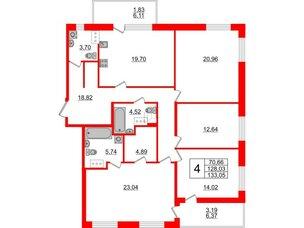 Квартира в ЖК Жемчужная гавань, 4 комнатная, 133.05 м², 8 этаж
