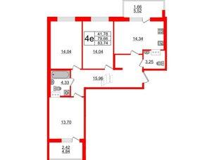 Квартира в ЖК Жемчужная гавань, 3 комнатная, 83.74 м², 4 этаж
