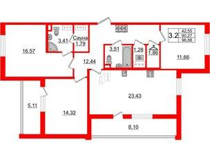 Квартира в ЖК «Солнечный город», 3 комнатная, 90.27 м², 5 этаж