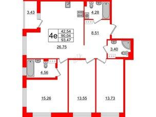 Квартира в ЖК «Черная Речка», 3 комнатная, 90.04 м², 3 этаж