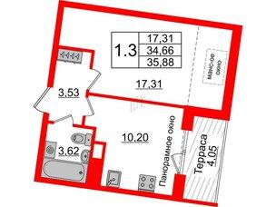 Квартира в ЖК Зеленый квартал на Пулковских высотах, 1 комнатная, 34.66 м², 5 этаж