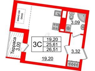 Квартира в ЖК Зеленый квартал на Пулковских высотах, студия, 25.61 м², 5 этаж
