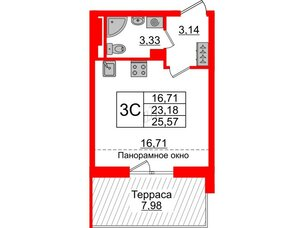 Квартира в ЖК Зеленый квартал на Пулковских высотах, студия, 23.18 м², 5 этаж
