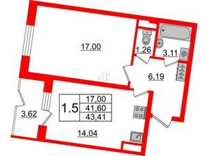 Квартира в ЖК Зеленый квартал на Пулковских высотах, 1 комнатная, 41.6 м², 1 этаж