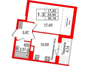 Квартира в ЖК Зеленый квартал на Пулковских высотах, 1 комнатная, 34.94 м², 5 этаж