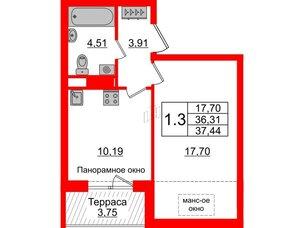Квартира в ЖК Зеленый квартал на Пулковских высотах, 1 комнатная, 36.31 м², 5 этаж