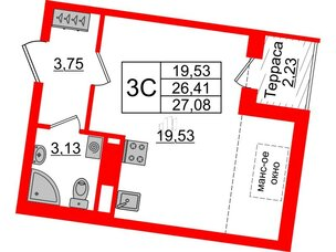 Квартира в ЖК Зеленый квартал на Пулковских высотах, студия, 26.41 м², 5 этаж