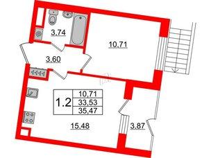 Квартира в ЖК Зеленый квартал на Пулковских высотах, 1 комнатная, 33.53 м², 1 этаж