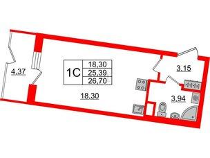 Квартира в ЖК Зеленый квартал на Пулковских высотах, студия, 25.39 м², 1 этаж