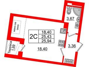 Квартира в ЖК Зеленый квартал на Пулковских высотах, студия, 25.43 м², 5 этаж