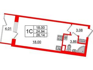 Квартира в ЖК Зеленый квартал на Пулковских высотах, студия, 24.94 м², 1 этаж