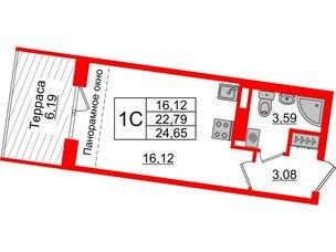 Квартира в ЖК Зеленый квартал на Пулковских высотах, студия, 22.79 м², 5 этаж