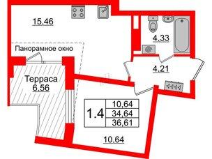 Квартира в ЖК Зеленый квартал на Пулковских высотах, 1 комнатная, 34.64 м², 5 этаж