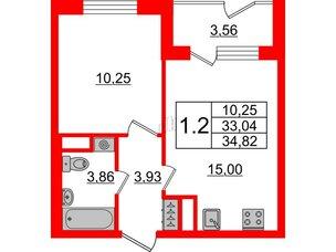 Квартира в ЖК Зеленый квартал на Пулковских высотах, 1 комнатная, 33.04 м², 1 этаж