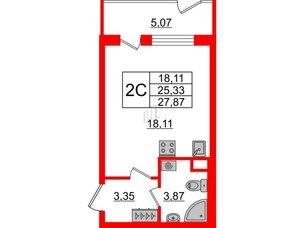 Квартира в ЖК Зеленый квартал на Пулковских высотах, студия, 25.33 м², 1 этаж