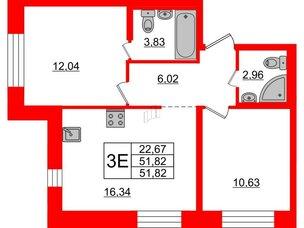 Квартира в ЖК «Северный», 2 комнатная, 51.82 м², 1 этаж