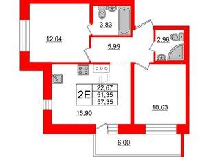 Квартира в ЖК «Северный», 2 комнатная, 51.35 м², 3 этаж