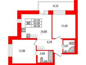 Квартира в ЖК «Северный», 2 комнатная, 50.89 м², 2 этаж