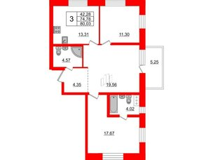Квартира в ЖК «Северный», 3 комнатная, 74.78 м², 2 этаж
