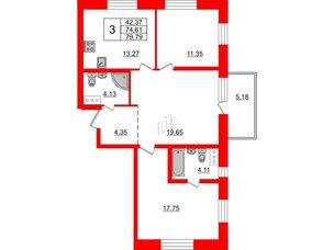 Квартира в ЖК «Северный», 3 комнатная, 74.61 м², 11 этаж