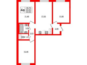 Квартира в ЖК Цветной город, 3 комнатная, 63.55 м², 13 этаж