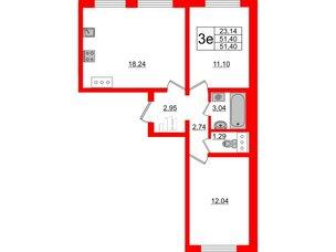 Квартира в ЖК Цветной город, 2 комнатная, 51.4 м², 17 этаж