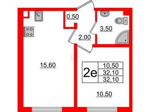 Квартира в ЖК Цветной город, 1 комнатная, 32.1 м², 2 этаж